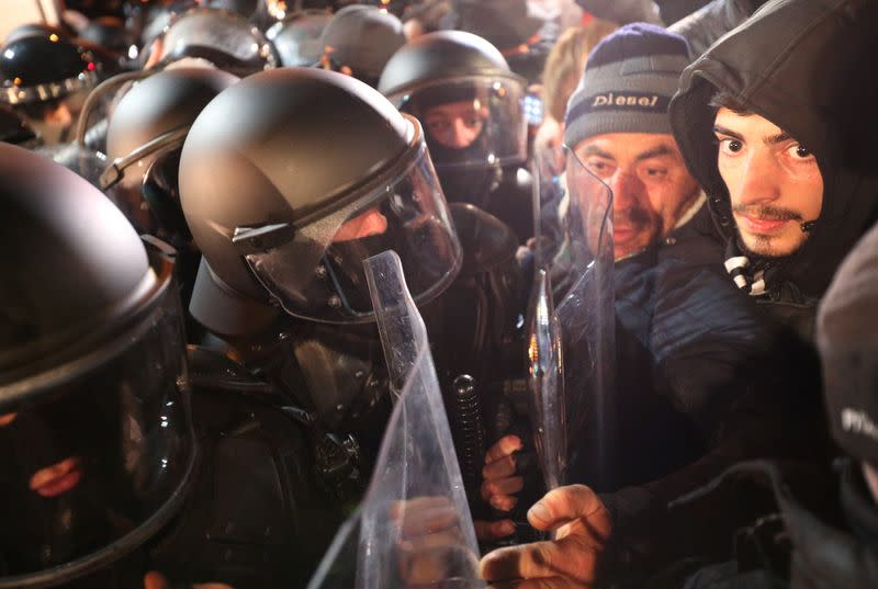 FILE PHOTO: Opposition supporters protest against results of a parliamentary election in Tbilisi