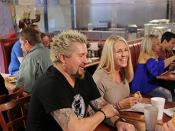 "<p>The show kind of makes it seem like Guy sits down with every customer, but he doesn't have time for that. The host only interviews a few few of them, and the rest of the sound bites are pulled from <a href=""https://people.com/food/guy-fieri-secrets-from-set-triple-d/"" rel=""nofollow noopener"" target=""_blank"" data-ylk=""slk:interviews conducted by producers"" class=""link rapid-noclick-resp"">interviews conducted by producers</a>.</p>"
