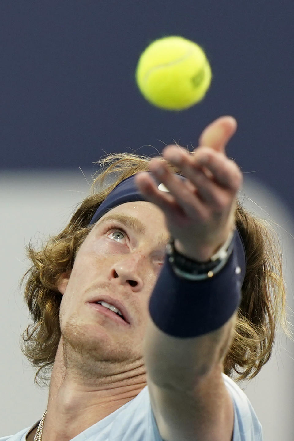 Andrey Rublev, of Russia, serves to Hubert Hurkacz, of Poland, during the Miami Open tennis tournament Friday, April 2, 2021, in Miami Gardens, Fla. (AP Photo/Wilfredo Lee)