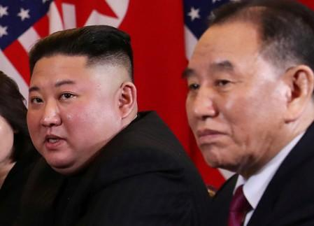 FILE PHOTO: North Korea's leader Kim Jong Un attends the extended bilateral meeting in the Metropole hotel with U.S. President Donald Trump during the second North Korea-U.S. summit in Hanoi
