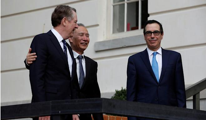 US Trade Representative Robert Lighthizer (left) said he and US Treasury Secretary Steven Mnuchin (right) would speak to Chinese Vice-Premier Liu He (centre) next week. Photo: Reuters