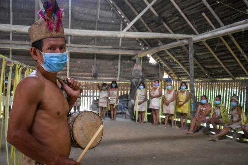 """The Articulation of the Indigenous Peoples of Brazil group has accused the national government of doing """"nothing"""" to protect indigenous tribes, such as the Ticuna community (members pictured), from the coronavirus"""
