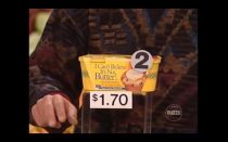 """<p>Obviously, the price of a hickory baked ham isn't the same from state to state. But <em>Supermarket Sweep</em> didn't average their prices—they played by the local prices where the show was filmed, in California. </p><p>""""In one of the games, you had to literally decide which one of the products was more than $3.50, I think. And there were cheeses and all this stuff and one was Ocean Spray cranberry juice or something, and I think that's the one I said, and everybody in my family, as it's happening on the television, is like 'No! Why did you say that?'"""" Futia <a href=""""https://tv.avclub.com/what-was-it-like-to-be-on-supermarket-sweep-1798271210"""" rel=""""nofollow noopener"""" target=""""_blank"""" data-ylk=""""slk:explained to The A.V. Club"""" class=""""link rapid-noclick-resp"""">explained to <em>The A.V. Club</em></a>. """"And I was right and I'm just laughing in the background because they were thinking these local New York prices, not the ridiculous California prices, where cranberry juice was $4.50,"""" he said.</p>"""