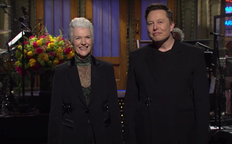 Elon Musk hosting Saturday Night Live, joined by his mother Maye - YouTube/NBC