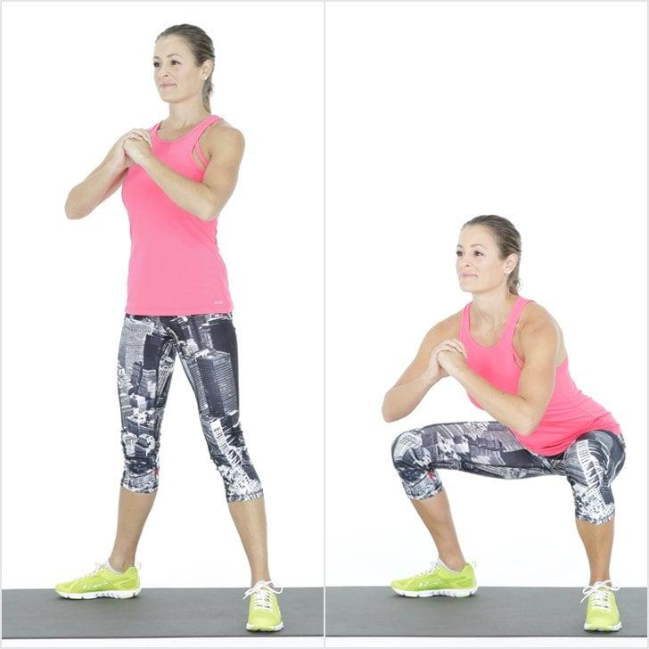 <ul> <li>Begin with your feet slightly wider than hip's width apart and toes pointed slightly outward. Bring your hands together in front of your chest. </li> <li>Keeping weight in your heels, sit back into a deep squat. Make sure your knees do not go beyond your toes or roll in or out of alignment. Keep your abs engaged as you squat.</li> <li>Deepen your abdominal engagement as you press through your heels to return to standing, completing one rep. </li> <li>Do as many air squats as you can for 25 seconds.</li> </ul>