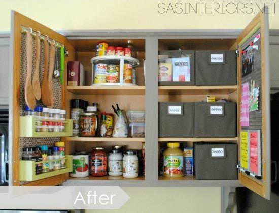 """<p>The solution: She used the doors for storage (hello, adorable spice rack) to free up shelf space and make room for containers with labels for things like snacks, baking supplies, and teas.</p><p><em><a href=""""http://www.jennaburger.com/2013/11/kitchen-organization-ideas-for-the-inside-of-the-cabinet-doors/"""" rel=""""nofollow noopener"""" target=""""_blank"""" data-ylk=""""slk:See more at Jenna Burger Design »"""" class=""""link rapid-noclick-resp"""">See more at Jenna Burger Design »</a></em></p><p><strong>What you'll need: </strong><span class=""""redactor-invisible-space"""">storage bins, $18 for a 6-pack, <a href=""""https://www.amazon.com/Marvel-Bug-Foldable-Organizer-Containers/dp/B01FML22U2/?tag=syn-yahoo-20&ascsubtag=%5Bartid%7C2139.g.36060899%5Bsrc%7Cyahoo-us"""" rel=""""nofollow noopener"""" target=""""_blank"""" data-ylk=""""slk:amazon.com"""" class=""""link rapid-noclick-resp"""">amazon.com</a></span><br></p>"""