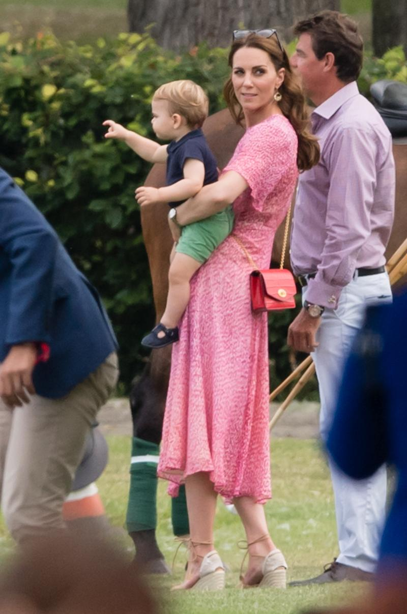 Catherine, Duchess of Cambridge and Prince Louis attend The King Power Royal Charity Polo Day at Billingbear Polo Club. [Photo: [PA]