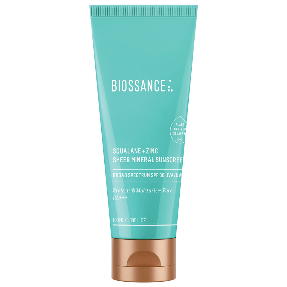 """Reviewers can't believe how well this lightweight sunscreen disappears into all skin tones. Like all Biossance products, this SPF has sugarcane-derived squalane to lock in moisture yet remains lightweight, and water lily to soothe and cool skin that's been exposed to the sun. Though it's appropriate for all skin types, it's particularly great for oily or acne-prone skin. $42, Biossance. <a href=""""https://shop-links.co/1739843157047802166"""" rel=""""nofollow noopener"""" target=""""_blank"""" data-ylk=""""slk:Get it now!"""" class=""""link rapid-noclick-resp"""">Get it now!</a>"""