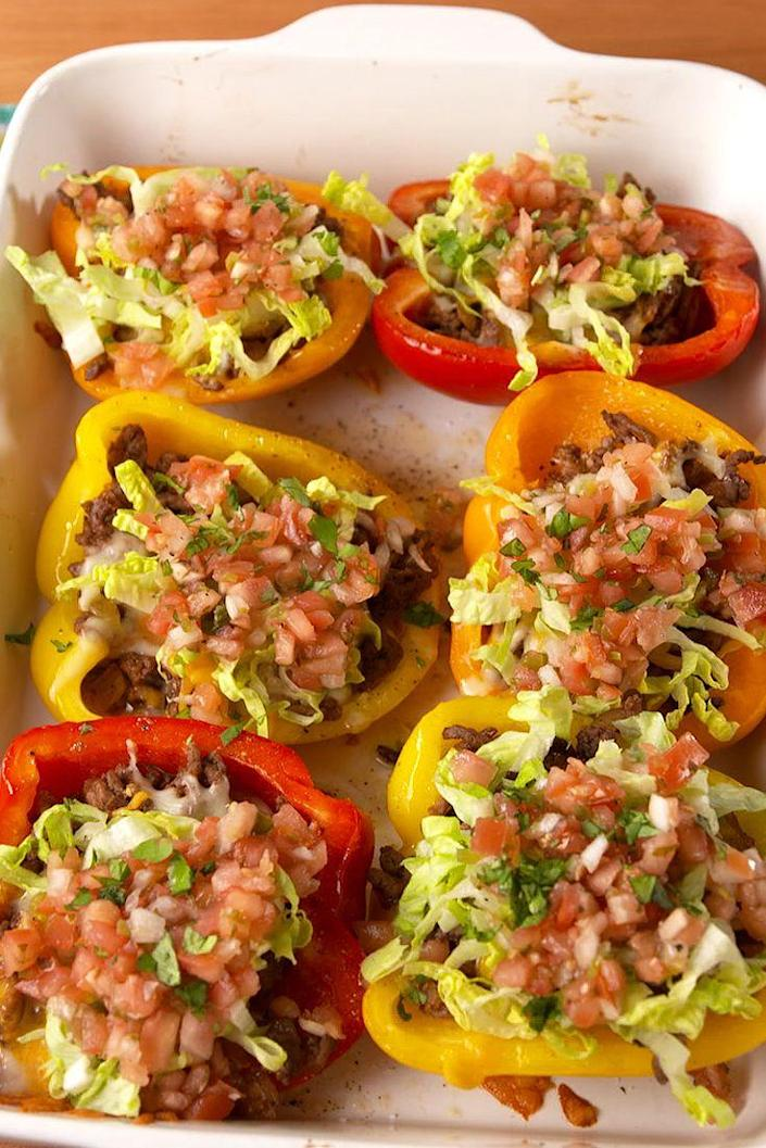 """<p>Taco 'bout a healthy dinner!</p><p>Get the recipe from <a href=""""https://www.delish.com/cooking/recipe-ideas/recipes/a51748/taco-stuffed-peppers-recipe/"""" rel=""""nofollow noopener"""" target=""""_blank"""" data-ylk=""""slk:Delish"""" class=""""link rapid-noclick-resp"""">Delish</a>.</p>"""