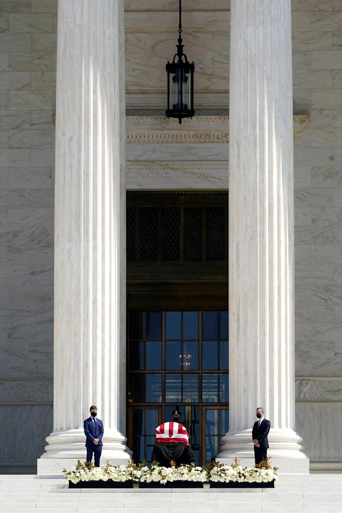 Casket of Justice Ruth Bader Ginsburg at the U.S. Supreme Court Building on Sept. 23, 2020, in Washington, D.C.
