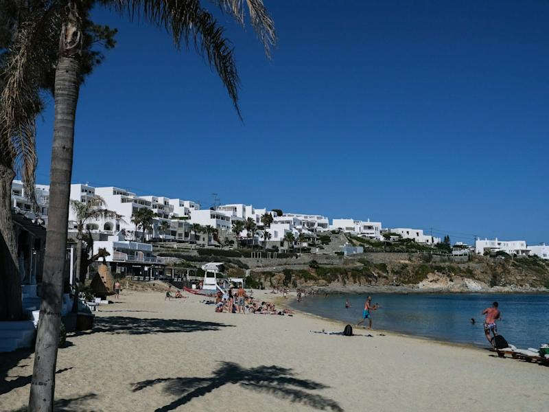 A beach on the island of Mykonos on the eve of the beginning of it's delayed tourist season on May 24, 2020. After months of being on lockdown due to the coronavirus, Greece will begin ease travel restrictions on movement between the mainland and the country's islands: Getty