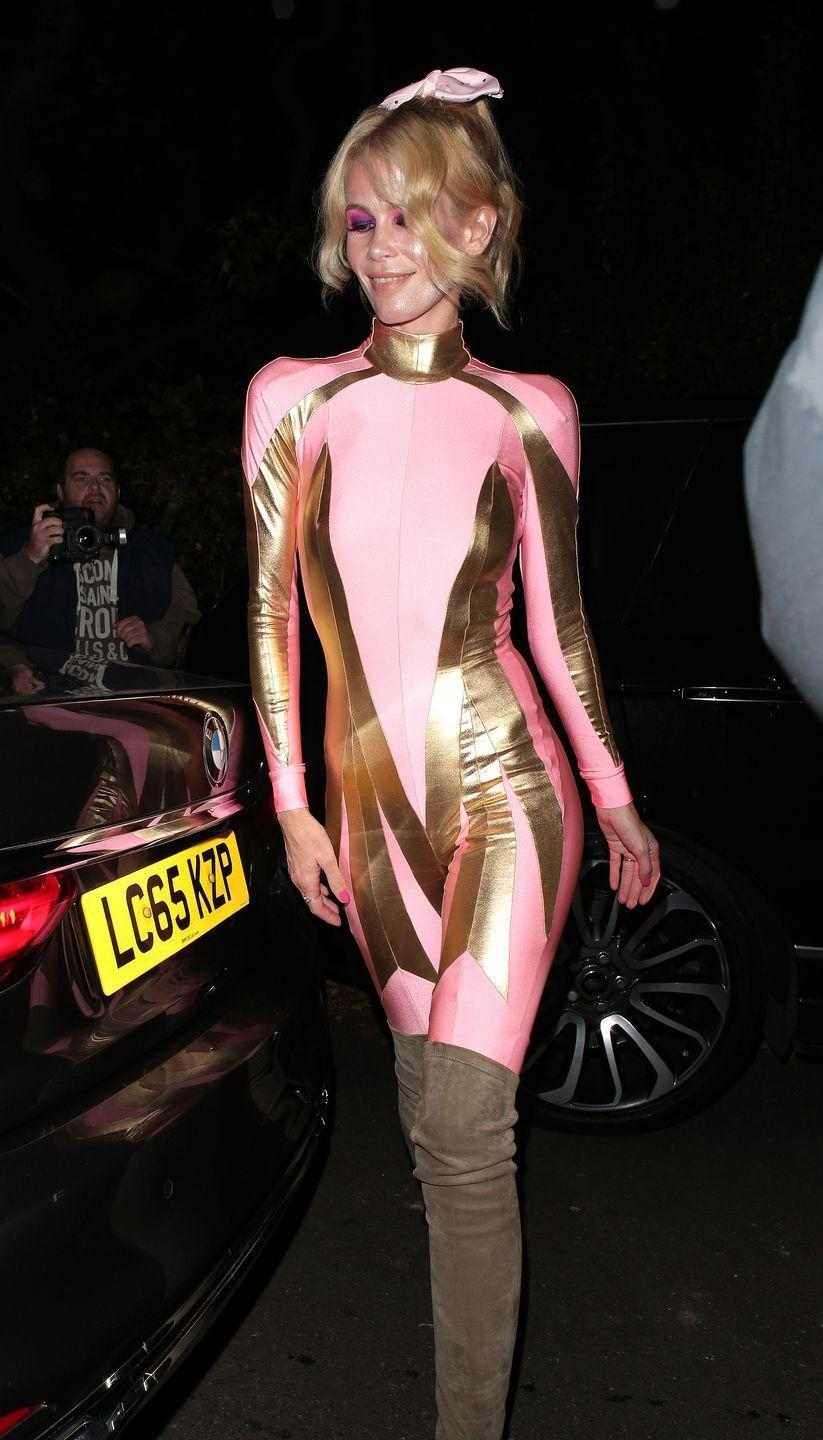 <p>Claudia Schiffer gave us endless inspiration for Halloween when she showed up to a party in 2017 dressed like the Pink Power Ranger, complete with neon-pink eye shadow and a matching hair bow. </p>