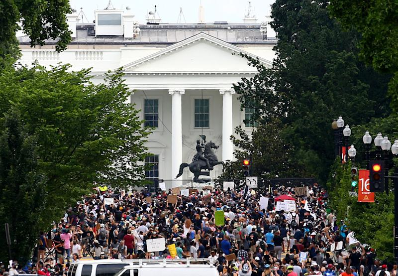 Crowds have continued to gather outside the White House to protest. Source: Getty
