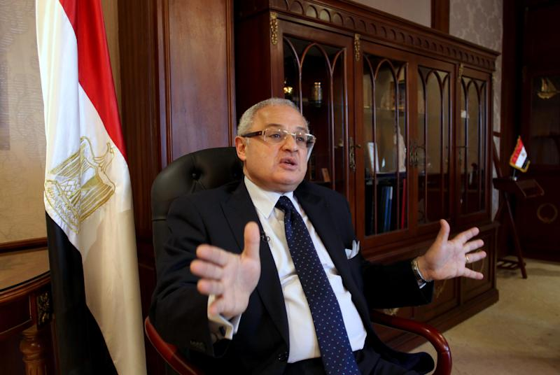 Egypt's minister of tourism, Hesham Zaazoua, speaks during an interview with the Associated Press at his office in Cairo, Egypt Thursday, March 28, 2013. Egypt's tourism minister says Iranian tourists would help shore up Egypt's dilapidated tourism industry and would not pose security challenge to the nation. Zaazoua says he does not worry that visiting Iranians would try to export a revolution to Egypt. (AP Photo/Khalil Hamra)