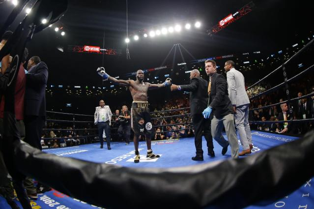 Deontay Wilder celebrates after the WBC heavyweight championship boxing match against Dominic Breazeale on Saturday, May 18, 2019, in New York. Wilder won in the first round. (AP Photo/Frank Franklin II)