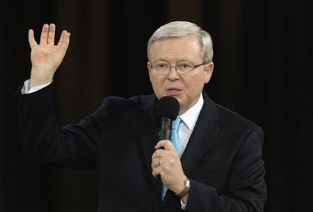 Australian Prime Minister Kevin Rudd talks during the People's Forum with opposition leader Tony Abbott in Sydney