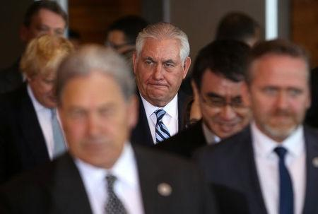 U.S. Secretary of State Rex Tillerson arrives for a photo op during the Foreign Ministers' Meeting on Security and Stability on the Korean Peninsula in Vancouver, British Columbia, Canada, January 16, 2018. REUTERS/Ben Nelms
