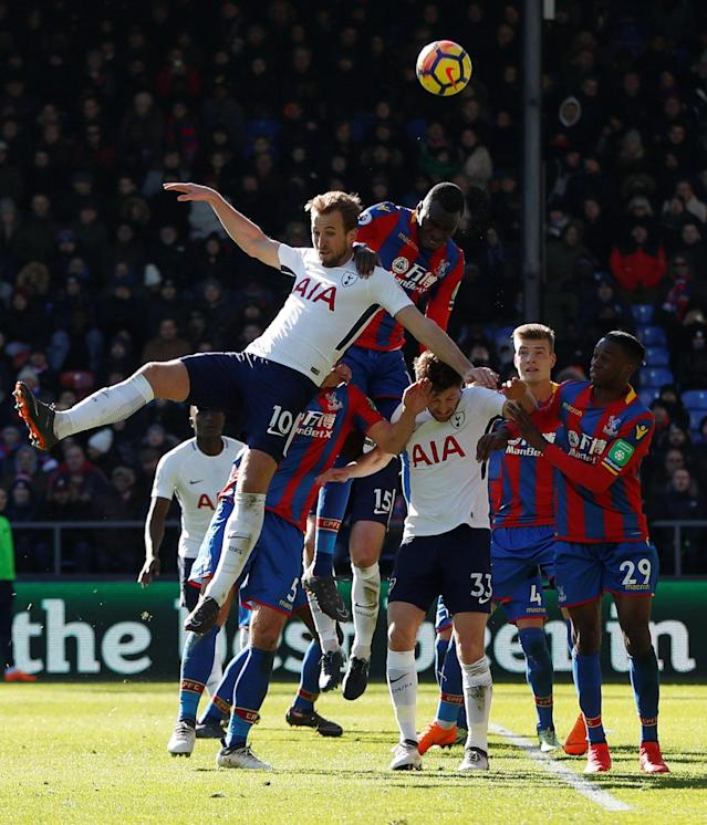 "Soccer Football - Premier League - Crystal Palace vs Tottenham Hotspur - Selhurst Park, London, Britain - February 25, 2018 Tottenham's Harry Kane in action with Crystal Palace's Christian Benteke Action Images via Reuters/Paul Childs EDITORIAL USE ONLY. No use with unauthorized audio, video, data, fixture lists, club/league logos or ""live"" services. Online in-match use limited to 75 images, no video emulation. No use in betting, games or single club/league/player publications. Please contact your account representative for further details."