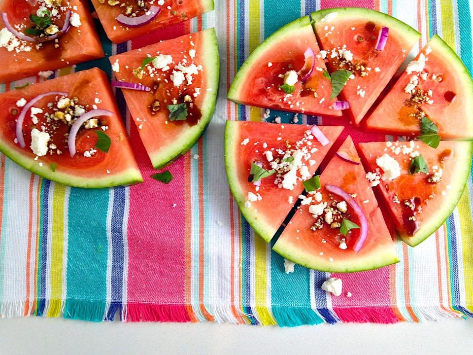 """<p>The pizza guy can't deliver you this.</p><p>Get the recipe from <a href=""""delish.com/cooking/a43102/savory-watermelon/"""" data-ylk=""""slk:Delish"""" class=""""link rapid-noclick-resp"""">Delish</a>. </p>"""