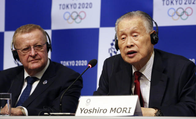 """Tokyo 2020 President Yoshiro Mori, right, speaks as Head of the IOC inspection team John Coates listens during a press conference in Tokyo, Wednesday, Dec. 5, 2018. IOC President Thomas Bach has said no city has been """"as ready as Tokyo"""" to hold the Olympics. Bach and other International Olympic Committee are calling Tokyo the best prepared in recent memory with the games just 20 months away. (AP Photo/Koji Sasahara)"""