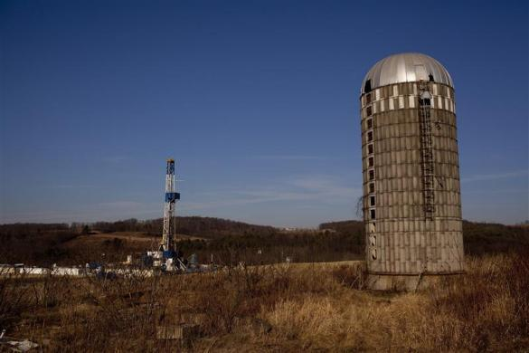 A natural gas well is drilled in a rural field near Canton in Bradford County, Pennsylvania January 7, 2012.