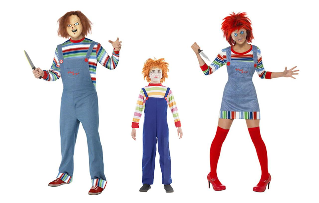 "<p><a rel=""nofollow"" href=""http://www.fancydress.com/costumes/search_result?term=chucky&pn=1&ps=0&fl=""><i>Fancy Dress, £102.97 for family of four</i></a><br /><br /></p>"
