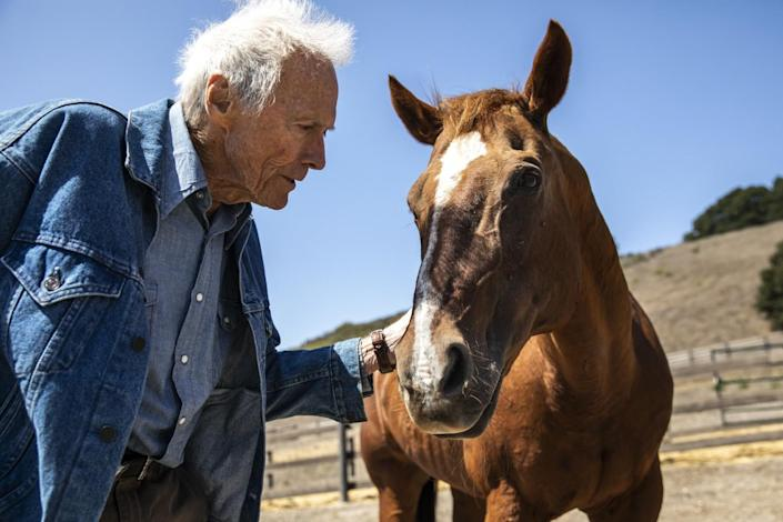 Clint Eastwood with one of his horses, on the grounds of his Tehama Golf Club, in Carmel-by-the-Sea, Sept. 2, 2021.