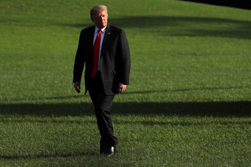 U.S. President Trump returns from Florida to the South Lawn of the White House in Washington