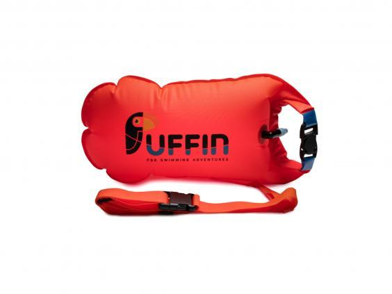 Hellyer recommends using a tow float like this one no matter how far you're swimming (Puffin Swim)