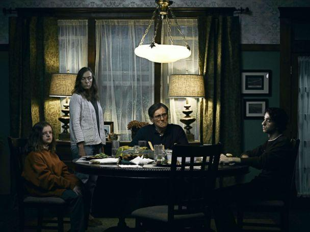 PHOTO: Milly Shapiro, Toni Collette, Gabriel Byrne and Alex Wolff in a scene from 'Hereditary.' (A24)