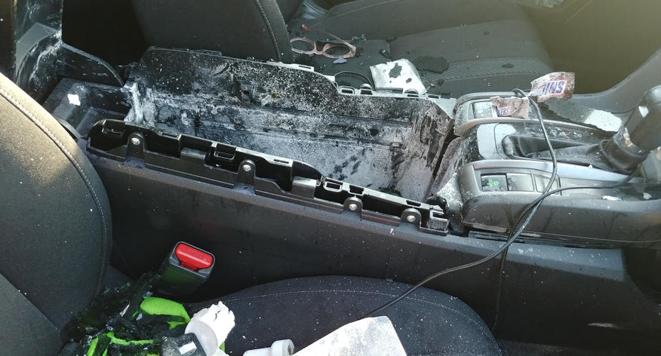The damage inside the car belonging to Christine Debrecht's daughter. She said dry shampoo exploded while it was inside the car on a hot day.