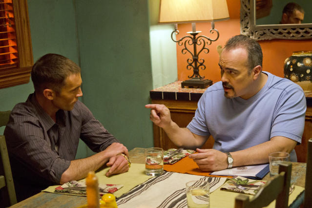 "David Zayas as Angel Batista and Desmond Harrington as Joey Quinn in the ""Dexter"" Season 8 episode, ""What's Eating Dexter Morgan?"""