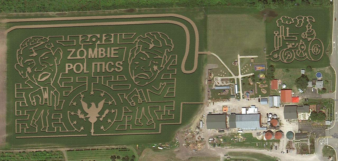 The Tennessee corn maze combines the undead and the 2012 presidential election in its theme of Zombie Politics.