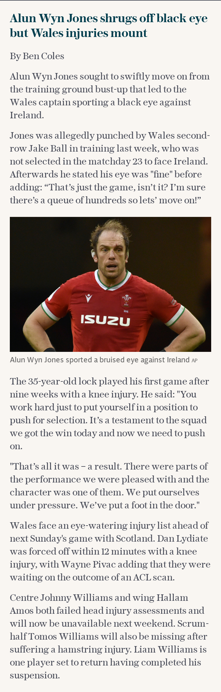 Alun Wyn Jones shrugs off black eye but Wales injuries mount