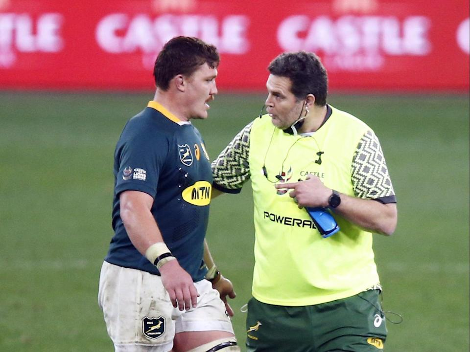 South Africa's Rassie Erasmus, right, won the off-field mind games battle ahead of the second Test with the Lions (Steve Haag/PA) (PA Wire)