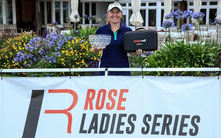 Gemma Dryburgh of Scotland holds the winner's rosebowl after her win in The Rose Ladies Series - GETTY IMAGES