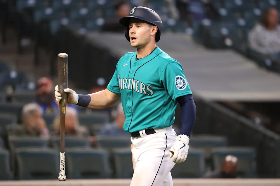 SEATTLE, WASHINGTON - MAY 28: Jarred Kelenic #10 of the Seattle Mariners reacts after striking out while looking during the fifth inning against the Texas Rangers at T-Mobile Park on May 28, 2021 in Seattle, Washington. (Photo by Abbie Parr/Getty Images)