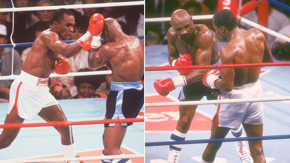 Pictured here, Marvin Hagler and Sugar Ray Leonard's epic fight in 1987.
