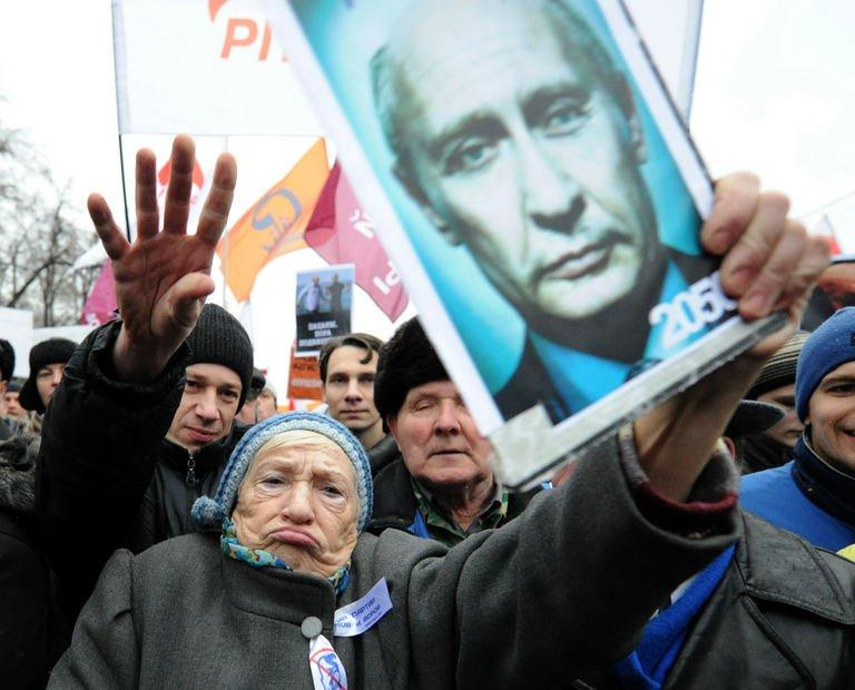 Picture from December 10, 2011, shows activists protesting against alleged mass fraud in parliamentary polls in Moscow