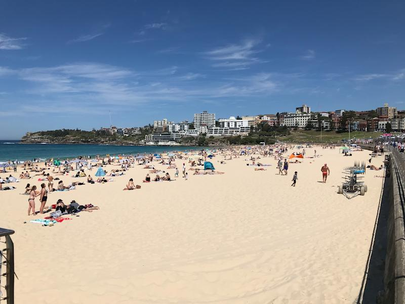 Waverley Council was urging people to spread out on Bondi Beach on Monday, as people flocked to the coast. Source: Waverley Council