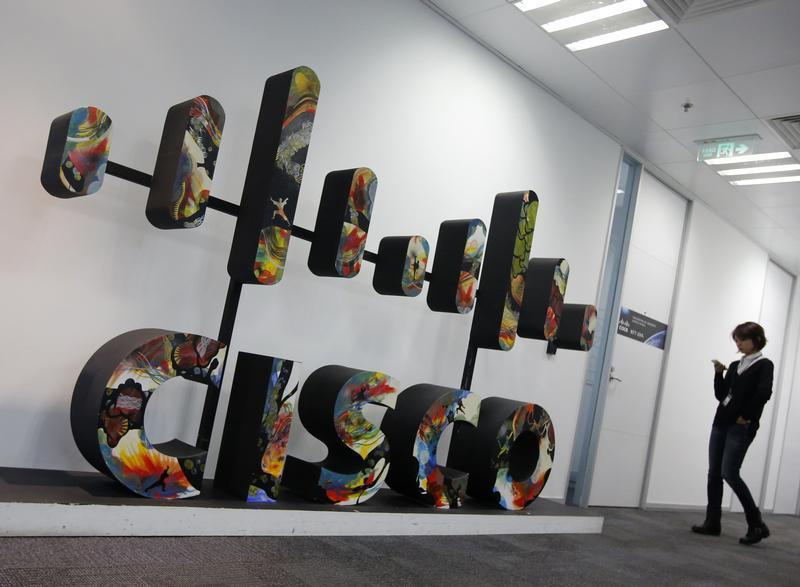 A Cisco logo is seen at its customer briefing centre in Beijing