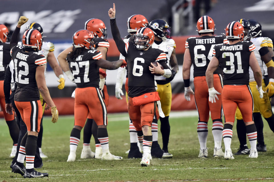Cleveland Browns quarterback Baker Mayfield celebrates after the team defeated the Pittsburgh Steelers.
