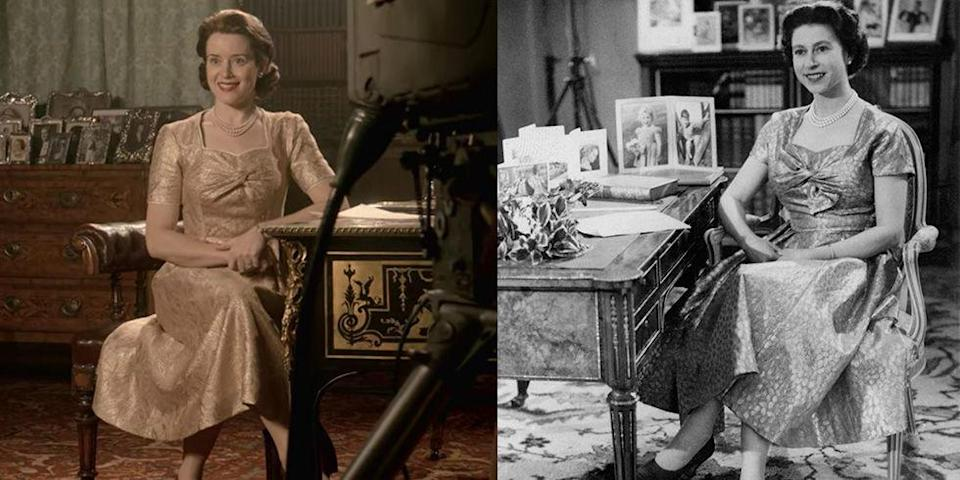 <p>For a moment as historic as the Queen's first televised Christmas speech, <em>The Crown </em>replicated her gold lamé tea dress. The identical frock even featured cap sleeves and a knotted bodice like the original. </p>