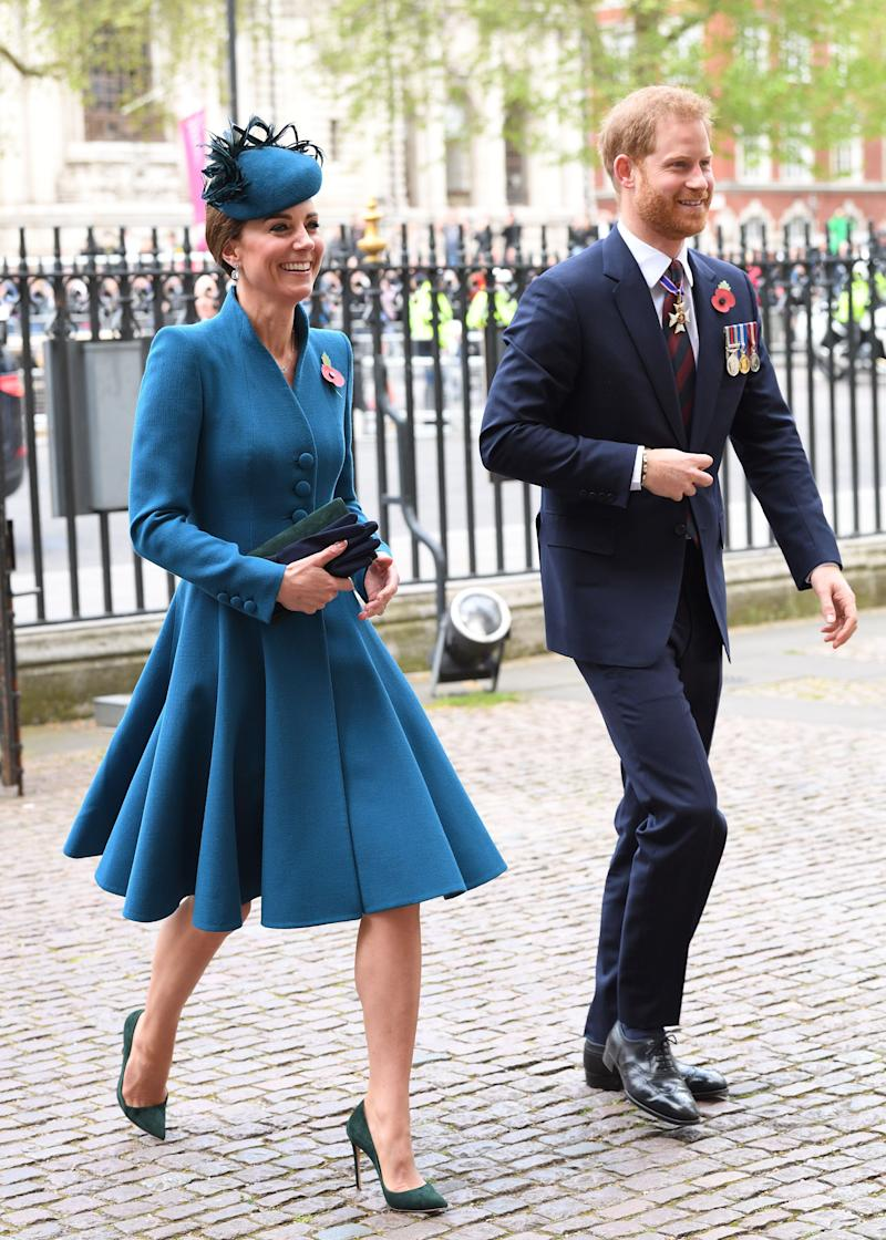 The Duchess of Cambridge and the Duke of Sussex on ANZAC Day. Image via Getty Images.