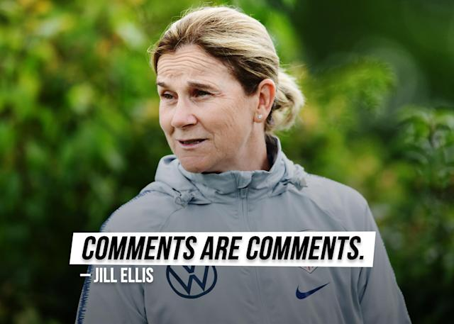 """USWNT coach Jill Ellis responds to <a href=""""https://sports.yahoo.com/jill-ellis-hope-solo-comments-response-175057689.html"""" data-ylk=""""slk:Hope Solo's criticism;outcm:mb_qualified_link;_E:mb_qualified_link;ct:story;g:undefined;"""" class=""""link rapid-noclick-resp yahoo-link"""">Hope Solo's criticism</a>."""