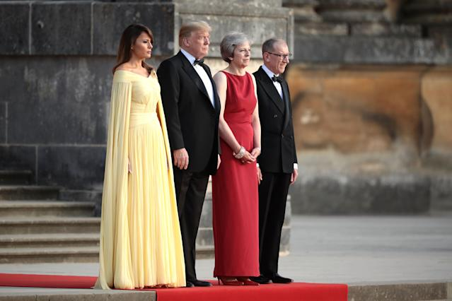 Melania Trump's yellow gown, which she wore to a state dinner in England, evoked images of a Disney princess. (Photo: Getty Images)