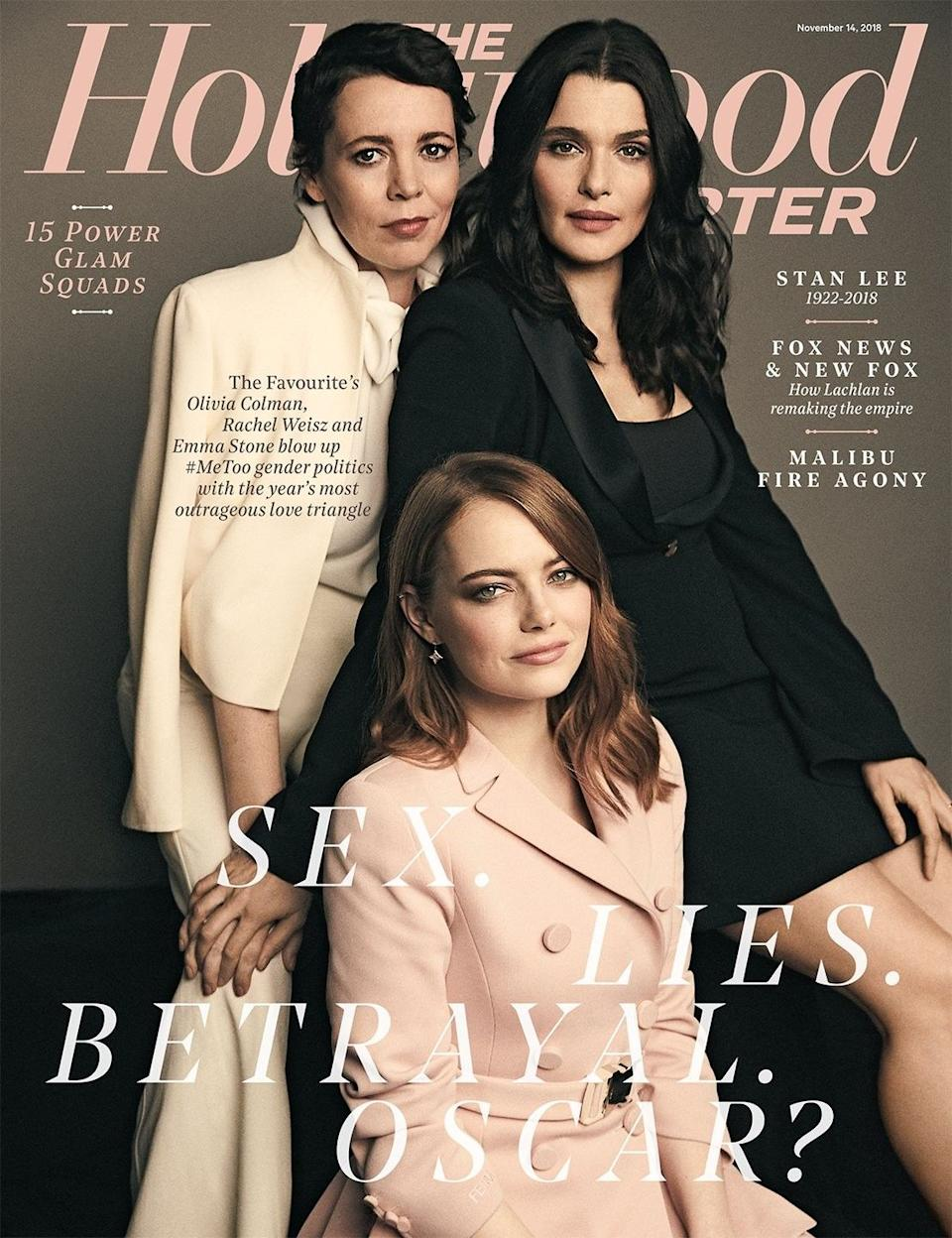 Olivia Colman, Rachel Weisz and Emma Stone pose for the November 2018 [Photo: The Hollywood Reporter]