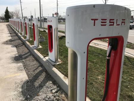 FILE PHOTO: Tesla superchargers are installed at the Quinte Mall in Belleville