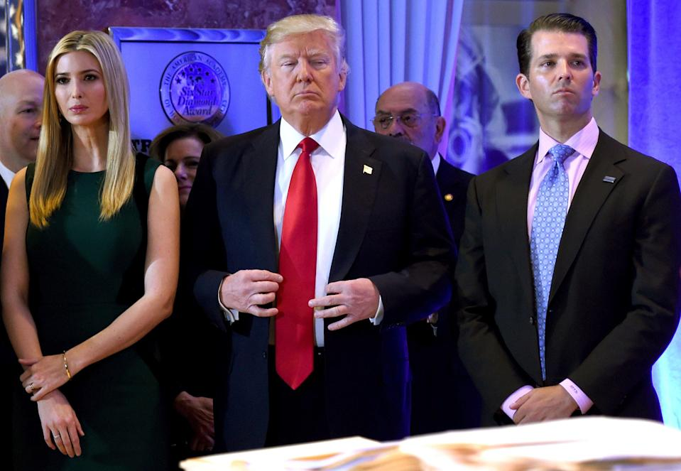 <p>The president's children, Ivanka Trump and Donald Trump Jr, campaign regularly for their father but a new poll suggests they should not try to follow in his footsteps</p> (AFP/Getty Images)