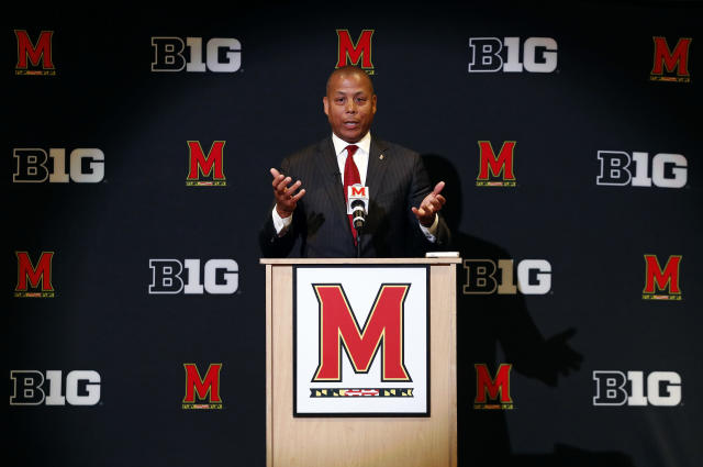 Maryland athletic director Damon Evans speaks at an introductory news conference, Tuesday, June 26, 2018, in College Park, Md. Evans, who joined the school in December 2014, replaces Kevin Anderson, who resigned in April. (AP Photo/Patrick Semansky)